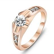baratos Anéis-Mulheres Anel de declaração - Rosa ouro, Zircônia Cubica, Chapeado Dourado Amor Original 6 / 7 Dourado Para Casamento / Festa / Presente