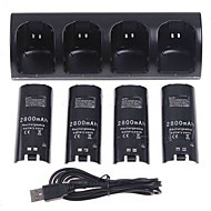 USB Charger / Batteries For Wii ,  Rechargeable Charger / Batteries Metal / ABS 5 pcs unit