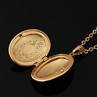 halpa -Circle Shape Geometric Shape Muoto Riipus-kaulakorut Lukkojen kaulakoru Kupari Gold Plated 18K kultaa Riipus-kaulakorut Lukkojen kaulakoru