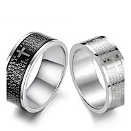 Cool personality Scripture Titanium Steel Men's Black and White Cross Ring Christmas Gifts