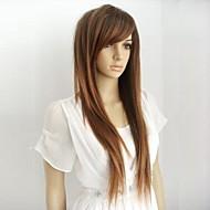 お買い得  -人工毛ウィッグ ストレート バング付き 合成 28 インチ ハイライト / バレイヤージュヘア ブラウン かつら 女性用 ロング キャップレス ライトブラウン hairjoy