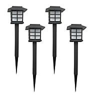 abordables Luces de Jardín-juego de 4 blanco solar del césped del jardín de la lámpara de luz juego