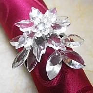 Poinsétia de cristal anel de guardanapo em multi cores, Acrílico beades, 3.5cm, conjunto de 12,