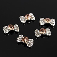 10pcs    Champagne Bow Tie 3D Rhinestone Alloy Accessories For Finger Tips Nail Art Decoration