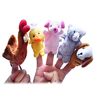 cheap Toys & Hobbies-Chicken Duck Dog Pig Finger Puppets Puppets Cute Novelty Lovely Cartoon Lovely Textile Plush Boys' Girls'