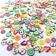 300db vegyes stílus fimo szelet gyümölcs sorozat Nail Art dekoráció