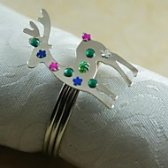 Χριστούγεννα ταράνδων δαχτυλίδι πετσέτα πολλά χρώματα, ακρυλικό, 4,5 εκατοστά, σετ των 12