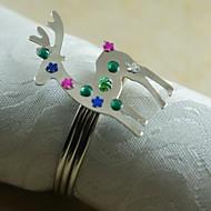 Natal anel de guardanapo renas muitas cores, acrílico, 4,5 centímetros, conjunto de 12