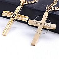 aço inoxidável em forma gravado jóias de presente personalizado de cor de ouro cruz