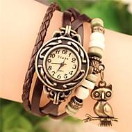 cheap Bohemian Watches-Women's Quartz Bracelet Watch Casual Watch PU Band Bohemian Owl Fashion Black White Blue Red Orange Brown Green