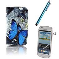 For Pung Kortholder Med stativ Flip Mønster Etui Heldækkende Etui Sommerfugl Hårdt Kunstlæder for Samsung Trend Lite