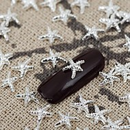 cheap Nails & Hair-50PCS Silver Metallic Shining Star Nail Art Alloy Jewelry Nail Tips Vernish  Manicure Decorations
