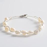Dame Strand Armbånd Unikt design Mode Perle Sølvbelagt Smykker Hvid Smykker For Fest Daglig Afslappet 1 Stk.