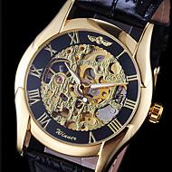 お買い得  -WINNER 男性用 リストウォッチ 機械式時計 自動巻き 透かし加工 レザー バンド ハンズ チャーム ブラック - ゴールド