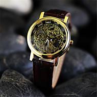 voordelige Chique horloges-Heren mechanische horloges Polshorloge Handmatig opwindmechanisme Hol Gegraveerd Leer Band Amulet Bruin