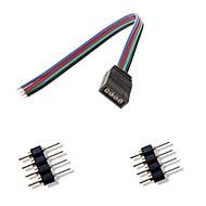 abordables Compra en Grupo-4 pines femal colorido luces led conector + 2 x luz de tira 4pin conector macho para rgb 5050/3528 llevado conectarse