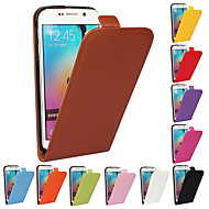 Solid color Genuine PU Cowhide Leather Magnetic Flip Wallet Case for Samsung Galaxy S6 edge