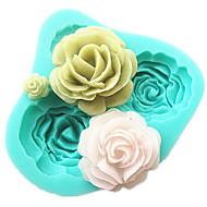 Χαμηλού Κόστους -4 τριαντάφυλλα φόρμα κέικ σιλικόνης αξεσουάρ ψησίματος εργαλεία κουζίνας φοντάν σοκολάτας sugarcraft καλούπι εργαλεία διακόσμησης
