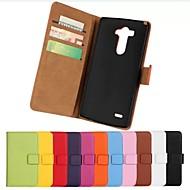 お買い得  ケース&カバー-LGのG3用スタンド(アソートカラー)とソリッドカラーのスタイリッシュな本物のPUレザーフリップカバー財布カードスロットケース