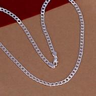 Недорогие Бижутерия-Муж. Жен. форма Мода Ожерелья-цепочки , Серебрянаясталь Серебрянное покрытие Ожерелья-цепочки Свадьба Для вечеринок Повседневные