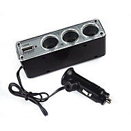 Three Ports Car Power Distributor With Usb 12V