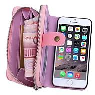 Недорогие Кейсы для iPhone 8 Plus-Кейс для Назначение Apple iPhone 8 iPhone 8 Plus iPhone 6 iPhone 6 Plus Бумажник для карт Кошелек Мешочек Сплошной цвет Твердый Настоящая
