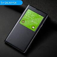 Недорогие Чехлы и кейсы для Galaxy S-Кейс для Назначение SSamsung Galaxy Кейс для  Samsung Galaxy с окошком С функцией автовывода из режима сна Флип Чехол Однотонный Кожа PU