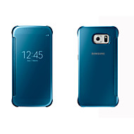 billige Galaxy S6 Edge Plus Etuier-For Samsung Galaxy etui Etuier Med vindue Auto Sluk Spejl Flip Heldækkende Etui Helfarve Hårdt PC for SamsungS8 S8 Plus S7 edge S7 S6