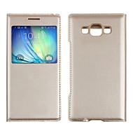 Недорогие Чехлы и кейсы для Galaxy А-Кейс для Назначение SSamsung Galaxy Кейс для  Samsung Galaxy с окошком Флип Чехол Сплошной цвет Кожа PU для A5