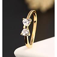 בגדי ריקוד נשים שני אבן טבעת הצהרה סגסוגת נשים אופנתי Fashion Ring תכשיטים עבור חתונה Party יומי קזו'אל 6 / 7 / 8 / 9 / זירקון