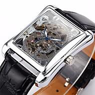 Недорогие Фирменные часы-WINNER Муж. Наручные часы Механические часы С автоподзаводом С гравировкой PU Группа Аналоговый Роскошь Черный - Серебряный Золотой