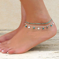Women's Turquoise Anklet Barefoot Sandals feet jewelry Double Ladies Unique Design Bikini Fashion Turquoise Anklet Jewelry For Party Daily Casual Beach