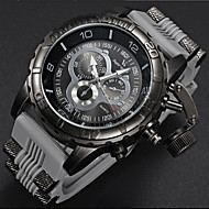 お買い得  -V6 男性用 軍用腕時計 日本産クォーツ ラバー バンド ハンズ ブラック / 白 / ブルー - ブラック グレー ブルー