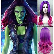 Naisten Synteettiset peruukit Koneella valmistettu Keskikokoinen Laineikas Purppura Liukuvärjätyt hiukset Keskijakaus Halloween Peruukki