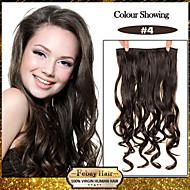 お買い得  -5クリップは、より多くの色がご利用いただけ女性のためのミディアムブラウン(#4)髪の拡張子で人工毛クリップを波状