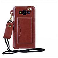 Для Кейс для  Samsung Galaxy Бумажник для карт / с окошком Кейс для Чехол Кейс для Один цвет Искусственная кожа Samsung A8 / A7 / A5 / A3