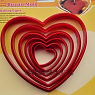abordables Accesorios para Hogar y Mascotas-galletas de plástico de moda del cortador de escama corazón postres galletas pastel molde decoración de la cocina para hornear utensilios