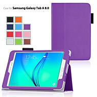 Недорогие Чехлы и кейсы для Galaxy Tab A 9.7-Кейс для Назначение SSamsung Galaxy Вкладка 9,7 Вкладка 8,0 Кейс для  Samsung Galaxy со стендом Флип Чехол Сплошной цвет Кожа PU для