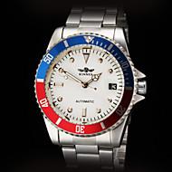 abordables Joyería y Relojes-WINNER Hombre Reloj de Vestir Calendario Acero Inoxidable Banda Plata / Cuerda Automática