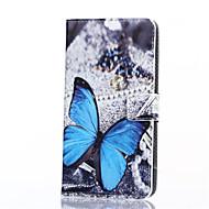 voordelige Galaxy Ace 4 Hoesjes / covers-blauwe vlinder patroon pu leer full body hoes met standaard voor Samsung Galaxy on7 / J3 / G530 / on5 / J1 ace / G360