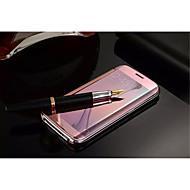 Недорогие Чехлы и кейсы для Samsung-Кейс для Назначение SSamsung Galaxy Кейс для  Samsung Galaxy Зеркальная поверхность Флип Чехол Сплошной цвет Кожа PU для S7 edge S7 S6