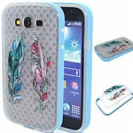 Для Кейс для  Samsung Galaxy Защита от удара / Полупрозрачный / С узором Кейс для Задняя крышка Кейс для Перо TPU SamsungGrand Prime /