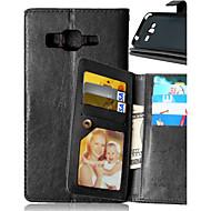 Недорогие Чехлы и кейсы для Galaxy Core Prime-Кейс для Назначение SSamsung Galaxy Кейс для  Samsung Galaxy Бумажник для карт Кошелек со стендом Флип Чехол Сплошной цвет Кожа PU для J5