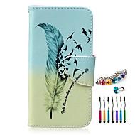 Недорогие Чехлы и кейсы для Galaxy S6 Edge Plus-Кейс для Назначение SSamsung Galaxy Бумажник для карт Кошелек со стендом Флип С узором Чехол  Перья Твердый Кожа PU для S6 edge plus S6