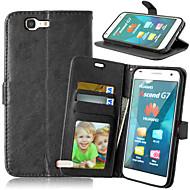 お買い得  携帯電話ケース-ケース 用途 Huawei社の名誉4X / Huawei社Y550 / Huawei社G7 P8 Lite / Huaweiケース ウォレット / カードホルダー / スタンド付き フルボディーケース ソリッド ハード PUレザー のために Huawei P8 Lite / Huawei P7 / Huawei Honor 6 Plus