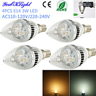 E14 LED Candle Lights C35 3 High Power LED 260 lm Warm White Cold White 3000/6000 K Decorative AC 220-240 AC 110-130 V