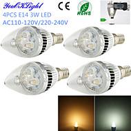 halpa LED-kynttilälamput-E14 LED-kynttilälamput C35 3 ledit Teho-LED Koristeltu Lämmin valkoinen Kylmä valkoinen 260lm 3000/6000K AC 220-240 AC 110-130V