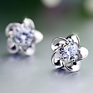 Orecchini a bottone - Perla Fiore decorativo Donne Da ufficio Pietre dei segni Gioielli Argento Per