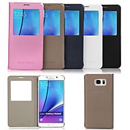 お買い得  Samsung 用 ケース/カバー-ケース 用途 Samsung Galaxy Samsung Galaxy Note スタンド付き ウィンドウ付き フルボディーケース 純色 PUレザー のために Note 5