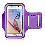 Недорогие Чехлы и кейсы для Galaxy S-Кейс для Назначение универсальный с окошком Нарукавная повязка С ремешком на руку Сплошной цвет Мягкий текстильный для S6 edge S6 S5 S4 S3